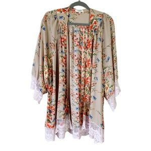Umgee Floral Kimono with Crochet Details - M/L